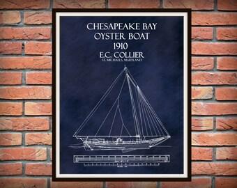 1910 Chesapeake Bay Oyster Boat E.C. Collier Oyster Skipjack Drawing - Dredger - Art Print Poster - Nautical Wall Art - Bugeye -Fishing Art