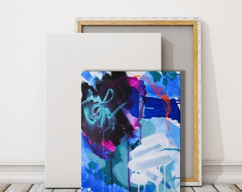 small blue and black painting, small modern canvas, contemporary acrylic painting, interior design art