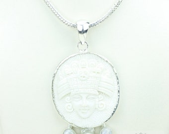 Aztec Mythology Xiuhtecuhtli Lord of Fire TOTEM Goddess Face Moon Face Bone Carving 925 S0LID Sterling Silver Pendant + 4MM Chain p3916