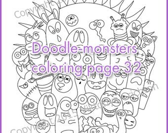Coloring Page doodle-monsters, printable art original, doodling PDF, or children and adults