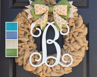 Initial Burlap Wreath,Monogram Wreath,Front Door Wreath,Personalized Housewarming Gift,Year Round Wreath,Spring Summer Wreath, Door Hanger