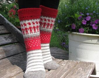 knit socks wool socks Christmas socks  knitted socks Scandinavian pattern Norwegian socks gift to man. gift to woman men socks Women socks.