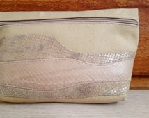 Carlos Falchi USA Vintage Brown Canvas Snakeskin Crocodile Lizard Clutch Purse - Nice vintage gift for her / bridesmaid / girlfriend