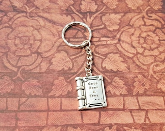 Once Upon A Time Book Keyring, Fairytale Keychain, Book Lover Gift, Fantasy Keyring, Reader Gift, Teacher Gift, Book Charm, Book Keychain