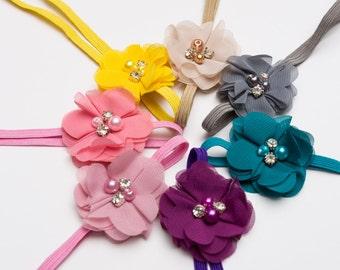 PACK of 7 headbands - Infant flower headband. Baby headband, girl headband,shabby chic headband, delicate headband, photo prop