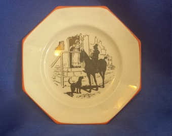 Small Plate of a Lady and Gentleman. Made expressly for Abraham and Straus inc Brooklyn