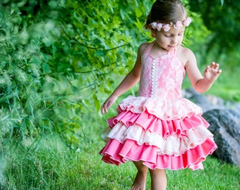 Girls Coral Dress, Coral Flower Girl,  Lace Ruffle Dress, Toddler Pageant Dress, Baby Girl Dress, Ruffle Twirl Dress, Coral Party Dress