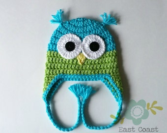 Blue and Green Owl Hat - Baby to Adult Sizes - Boy's Owl Hat - Crochet Owl Hat - Winter Earflap Hat - Woodland Animal Hat - Baby Owl Hat