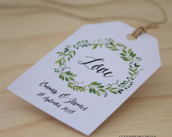 Personalised Printable Favour Tag / Wedding / DIY Tags - Spring Green Wreath