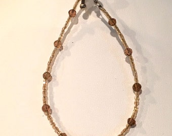 Gorgeous Handmade Brown Cats Eye Stone Center Beaded Bracelet with Sterling Silver Toggle