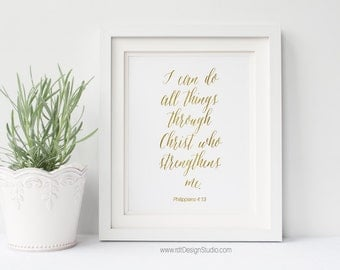 Philippians 4:13 I can, Bible Verse, Christian Wall Art, Inspirational Quote, Nursery Wall Art, Home Decor, Gift Ideas, Christmas, DT133