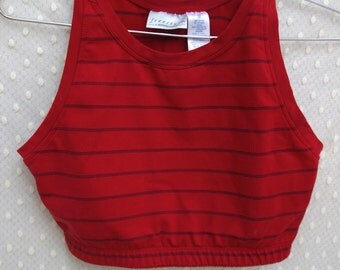 90s Red and Blue Striped Workout Crop Top by Danskin. Basic Cotton Scoop Neck Tank Top Crop Top.