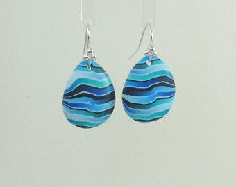 Blue 'Ocean' teardrop polymer clay earrings