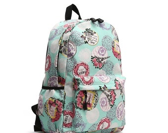 Flower/Animal Printing Round Backpack (Flower)
