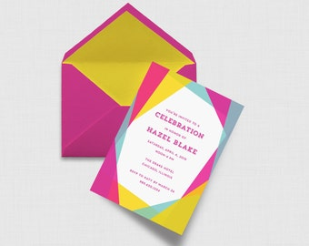 "Neon Geometric 5"" x 7"" Invitation - Digital or Printed"