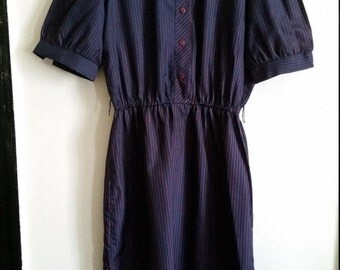 Smart Vintage Navy Blue & Red Pinstripe with Bowtie Neckline Dress