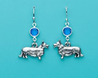 Corgi Dog Earrings, Corgi Earrings, Sapphire Crystal Corgi Earrings, Animal Earrings, Dangle Earrings, Gifts for Her, 82