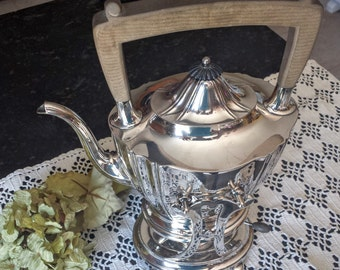 Gorham Silver Plate Tea Pot with Tilting Stand and Warmer 1921