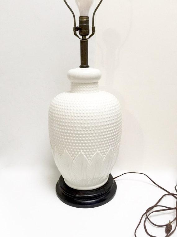 large vintage white ceramic lamp with hobnail and leaf pattern. Black Bedroom Furniture Sets. Home Design Ideas