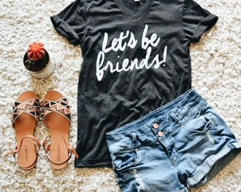 Let's Be Friends Flowy Tee (Charcoal)