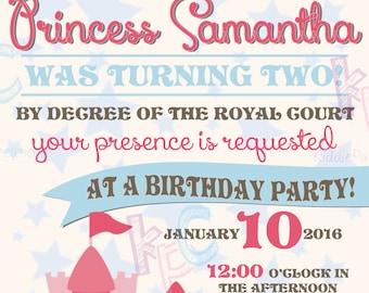 5x7 Princess Birthday Invitation {Digital File Only}