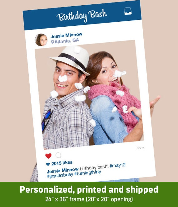 Instagram Frame Booth Prop Hashtag by