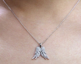 0.19 ct.tw Angel Wings Pendant Necklace-Brilliant Cut Pave Set Diamond Simulants-Angels Wing Necklace-Solid Sterling Silver [5150]