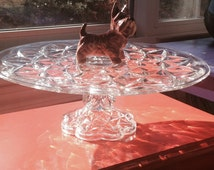 Round Large Glass Cake Stand German Waffle Pattern Cut  Glass Cake Cake Pedestal Vintage Scalloped Base Cake Dish Wedding