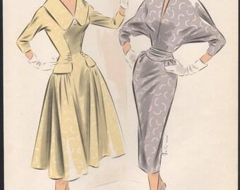 Original French 1950s fashion illustration lithograph