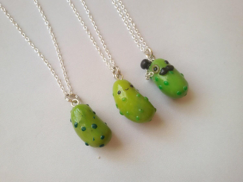 kawaii pickle charm necklace handmade pendant cucumber