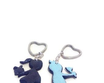 """Key fob """"Valentine, Valentine"""" polymer clay"""