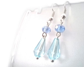 Pale Sky Blue Crystal Tear Drop Earrings, Gift for Her, Sterling Silver