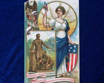 1900 Lady Liberty Abraham Lincoln Slave Emancipation Postcard