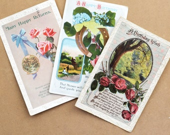 Collection of three vintage collectible birthday postcards