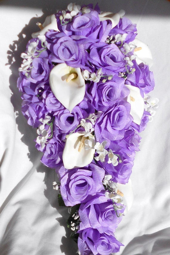 Lavender roses ,Callas and  lilies of the valley and callas 2 pieces