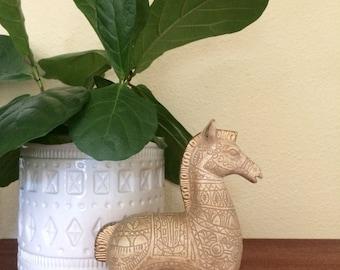 Bitossi era 1960s ceramic horse figurine, gold, taupe and cream