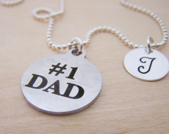 Number 1 Dad Necklace - #1 Dad Charm - Personalized Necklace - Custom Initial Necklace - Initial Jewelry - Monogram Necklace - Gift for Her