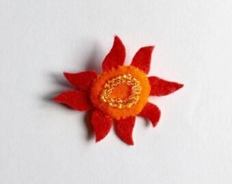 Felt Sun Brooch/ Sun Felt Brooch/ Sun Pin