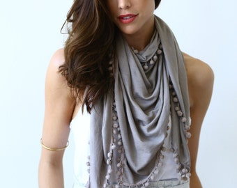 MERINO WOOL Piper Triangle Winter Scarf with pom poms, Taupe