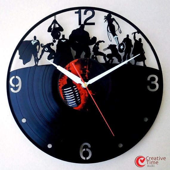 Vinyl wall clock Superhero by CreativeTimeStudio on Etsy