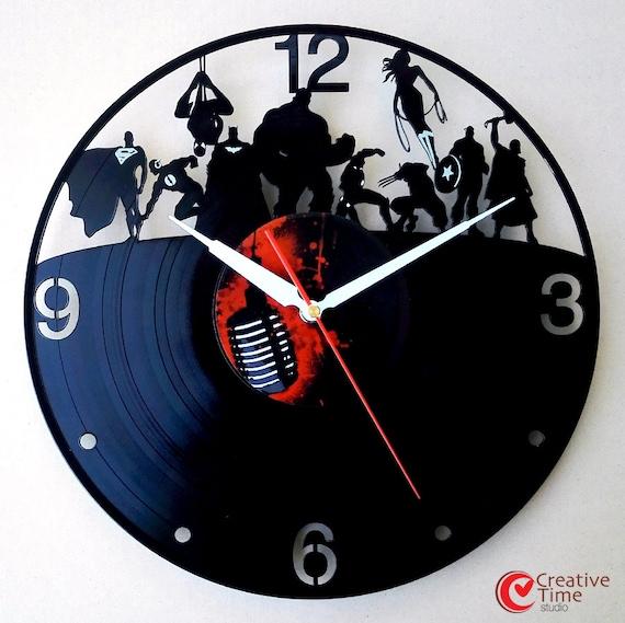 Vinyl wall clock Superhero by CreativeTimeStudio on Etsy