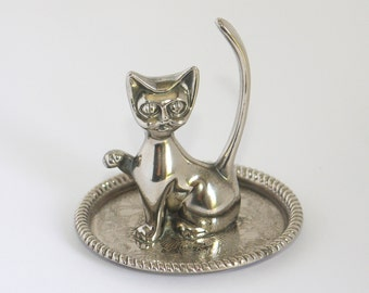 Vintage silver cat kitty ring holder