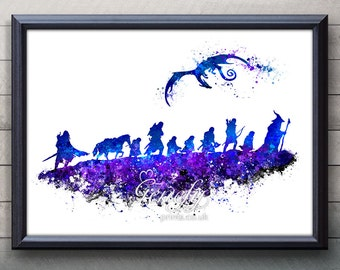Lord of the Rings The Fellowship of the Ring Watercolor Art Poster Print - Art Watercolor Painting - Home Decor  - House Warming Gift