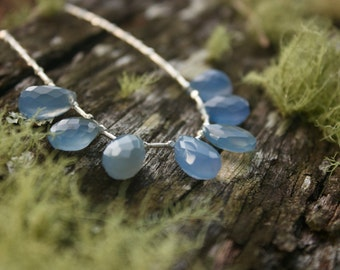 Faceted Blue Chalcedony Teardrop Necklace with Thai Hill Tribe Silver - Gemstone Jewellery - Chalcedony Jewelry