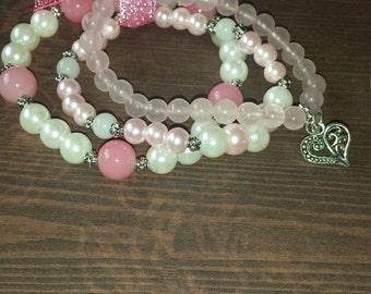 Pink heart rose quartz triple bracelet set