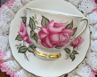 Colclough Bone - China Made in England - Vintage Tea Cup and Saucer - Large Pink Roses with Gold Trim
