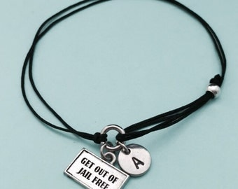 Get out of jail free card cord bracelet, get out of jail free card charm bracelet, adjustable bracelet, personalized, initial, monogram