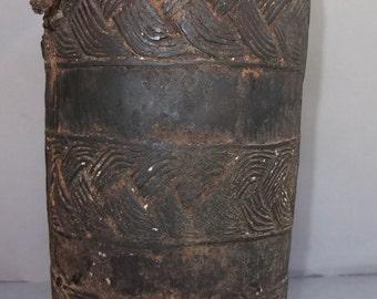 Antique Tibetan Wooden Hand Carved Used Milk Pot Jug with Geometric Carving, Himalaya Tibet Folk Art, FREE SHIPPING