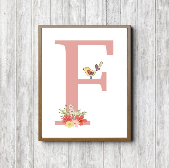 Monogram wall art letter f printable wall decor floral for Letter f decoration