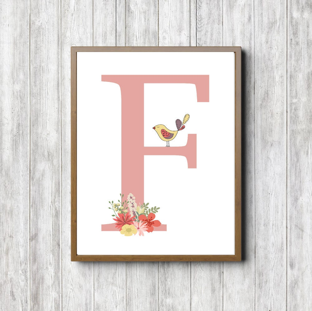 Monogram wall art letter f printable wall by primroaddesigns for Party wall letter template